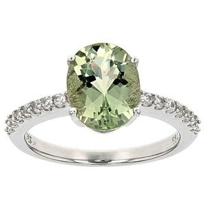 Sterling Silver Prasiolite and Zircon Ring